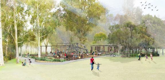 Rendered perspective of Parramatta Park